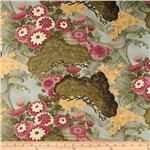 Dancing Cranes Floral Green/Mauve