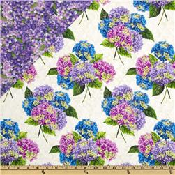 Budding Beauties Double Sided Quilted Hydrangea White
