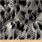 0260766 Faux Fur Fancy Feather Black/White