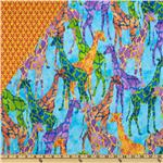 Tribal Council Double Sided Quilted Giraffe Turquoise