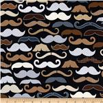 Timeless Treasures Men&#39;s Moustaches Black