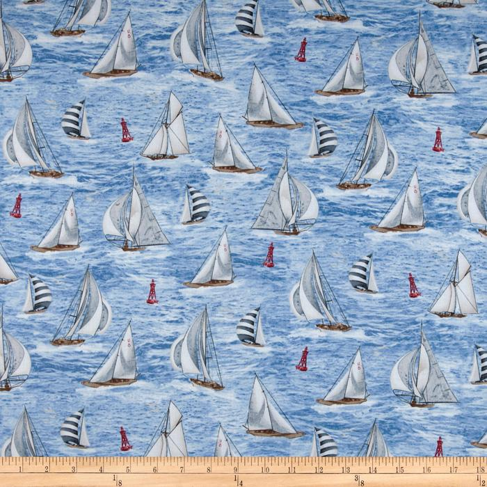 Timeless Treasures Sailboats Blue