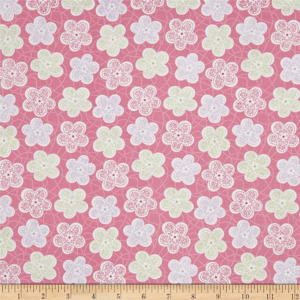 Baby Birds Patterned Flower Pink