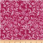108'' Tonal Scroll Quilt Backing Quilt Backing Fuchsia