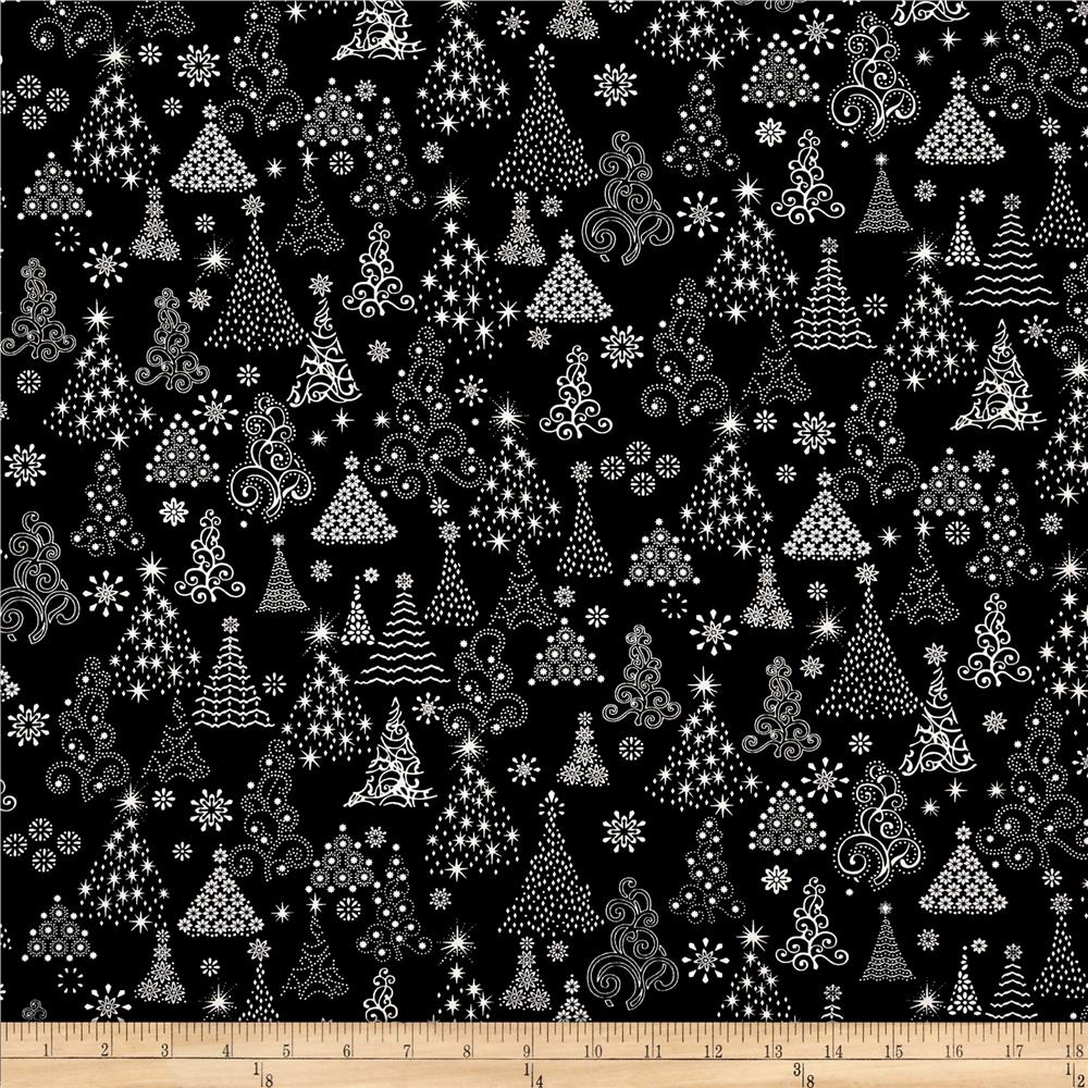 Winter Essentials Christmas Trees Black/White