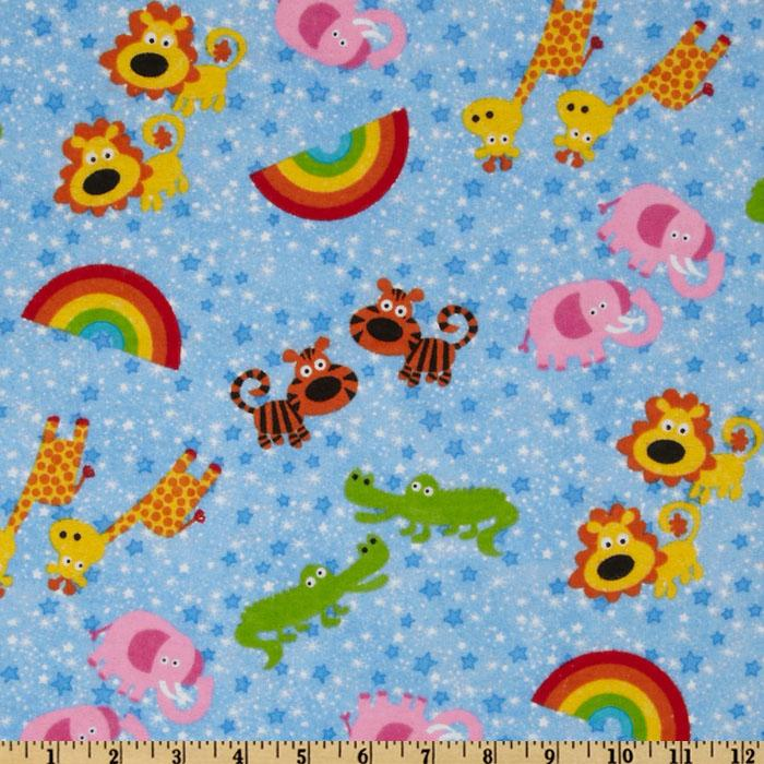 Comfy Flannel Rainbow Animals Blue