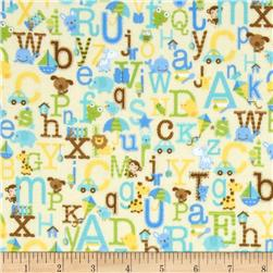 Riley Blake Snips & Snails Flannel Alphabet Yellow