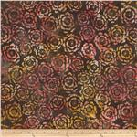 0290091 Artisan Batik Asian Legacy 3 Circle Flowers Ember Black