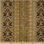 FT-127 La Scala 4 Stripe Floral Damask Metallic Gold/Antique