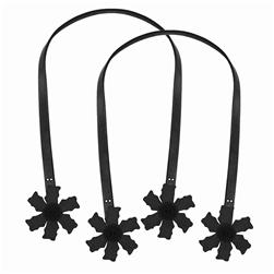 Purse Straps 24'' Flower Black