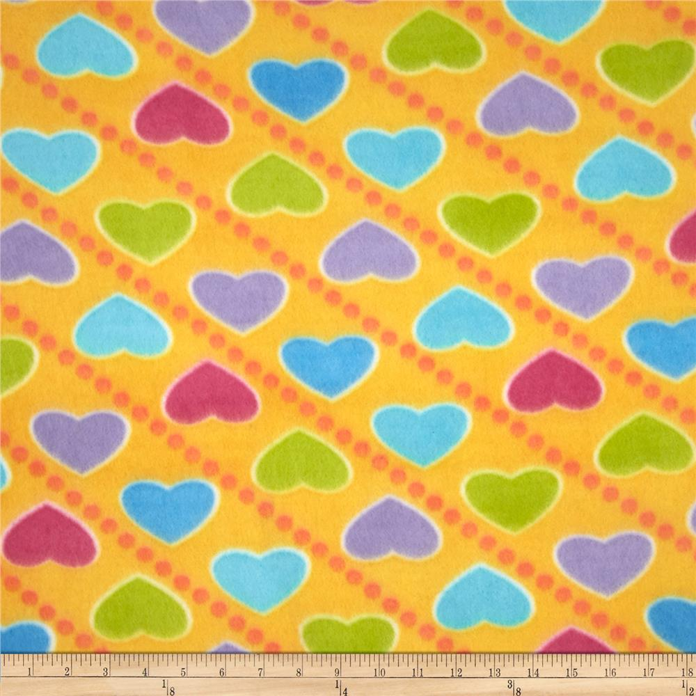 Printed Fleece Heart Throb Yellow