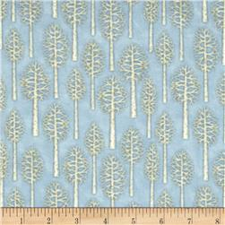 Snow Babies Flannel Birch Trees Blue