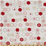 Moda Sew Stitchy Hexagons Cotton White