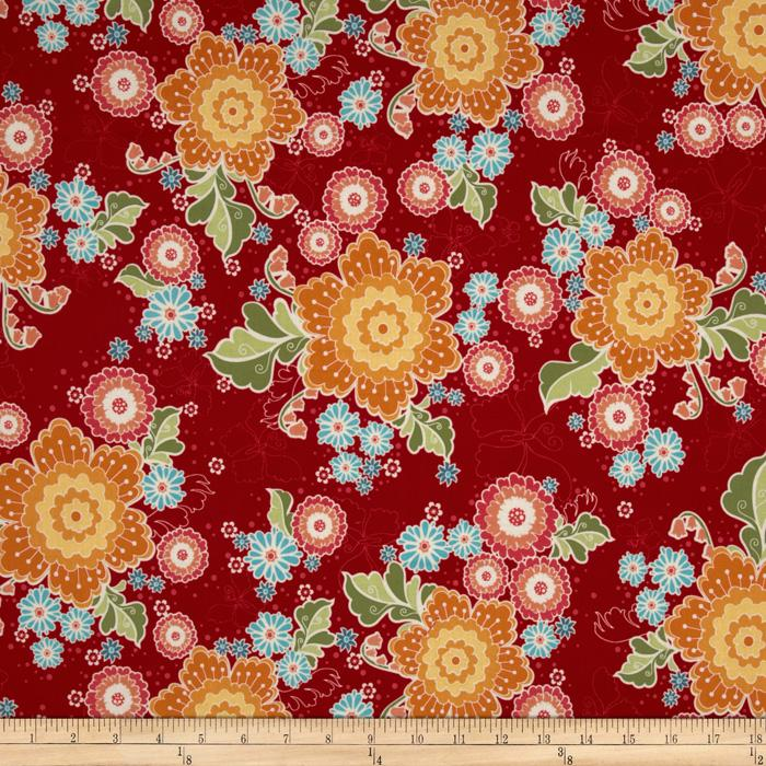 Riley Blake Flutter Floral Red
