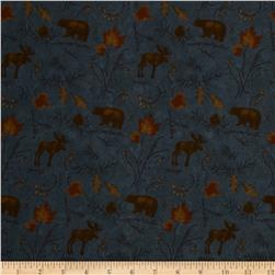 Moda Boundary Water Flannel Moose & Bear Sky