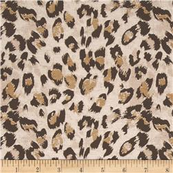 Stretch Rayon Jersey Knit Cheetah Tan/Brown