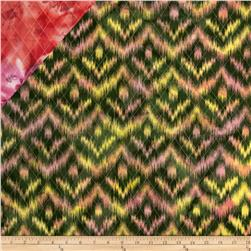 Double Sided Quilted Indian Batik Ikat Hunter/Yellow/Pink