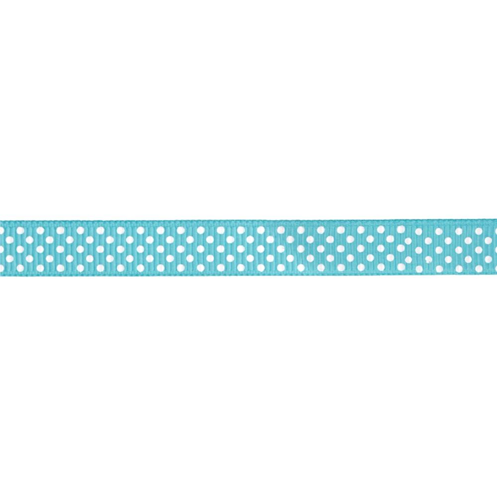 "Riley Blake 3/8"" Grosgrain Ribbon White Dots Aqua"
