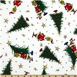 FM-551 How The Grinch Stole Christmas Flannel Grinch & Trees Celebration White