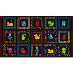 Loralie Cool Cats Panel Black
