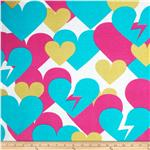 French Terry Knit Peace and Love Large Hearts Pink/Turquoise