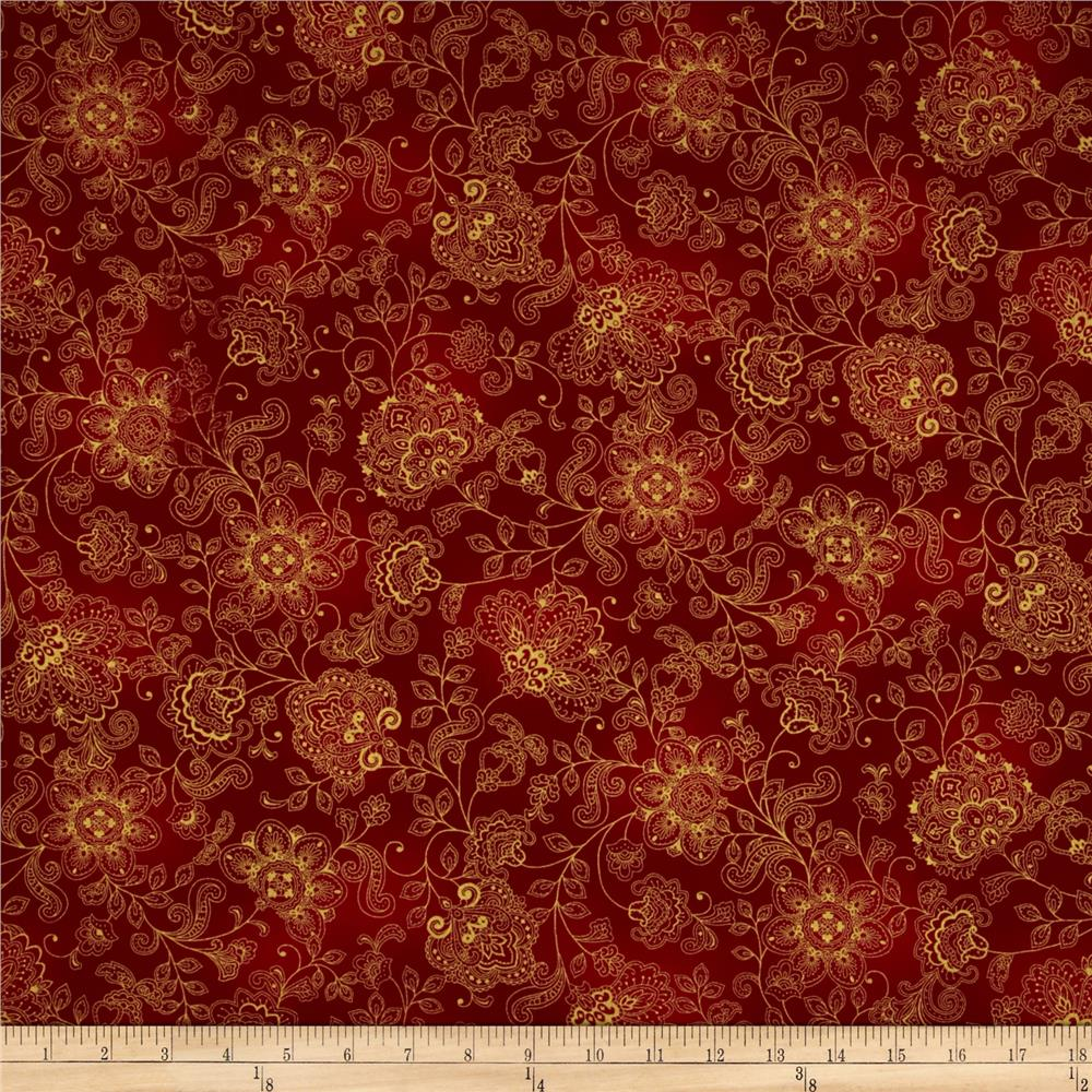 Pashmina Jacobean Floral Red