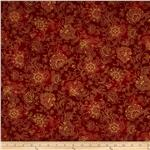 0283729 Pashmina Jacobean Floral Red