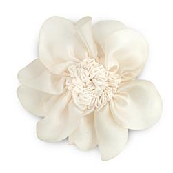"3"" Ruched Flower Pin And Hairclip Ivory"