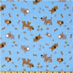 Camelot Flannel Tossed Dogs Blue