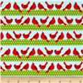 Holiday Sweet Tweets Bird Stripes Holiday Aqua