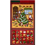 Santa&#39;s Workshop Advent Calendar Panel Red