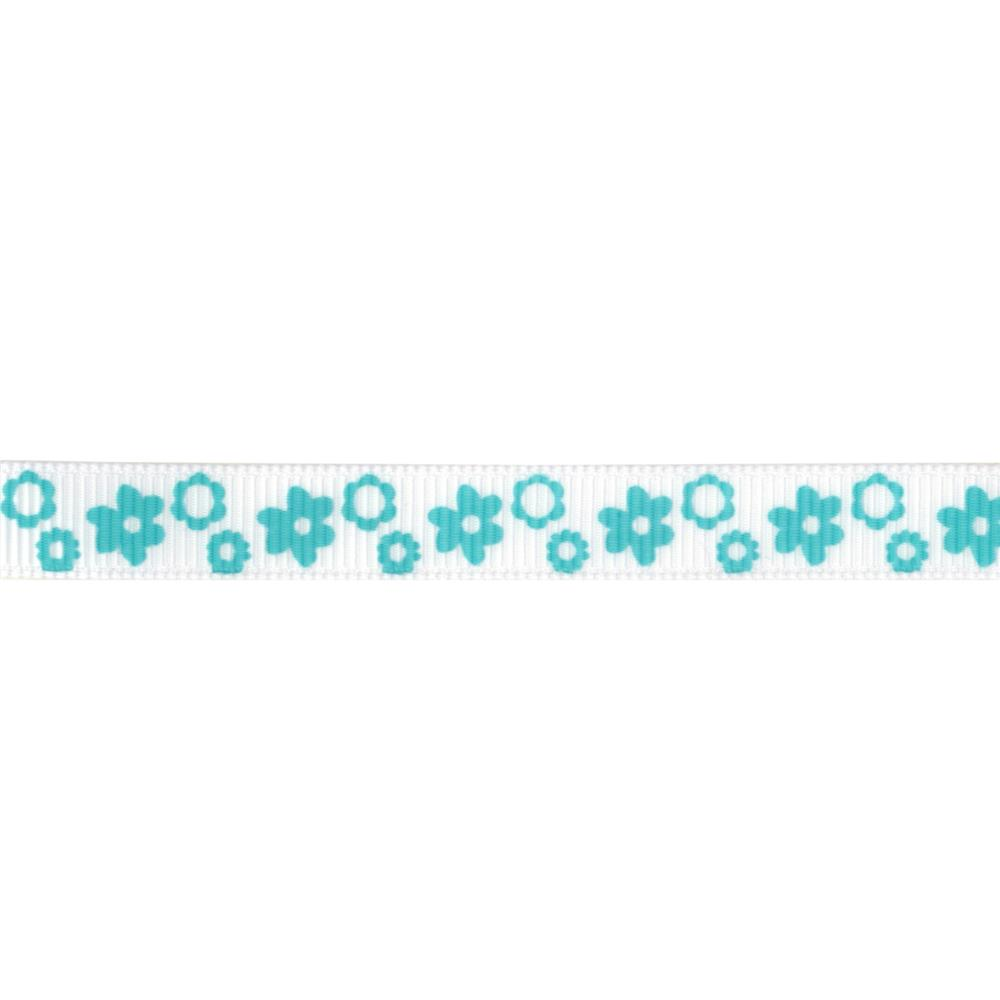 "Riley Blake 3/8"" Grosgrain Ribbon Flowers Aqua"