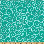 Michael Miller Nordic Holiday Swirly Gig Aqua