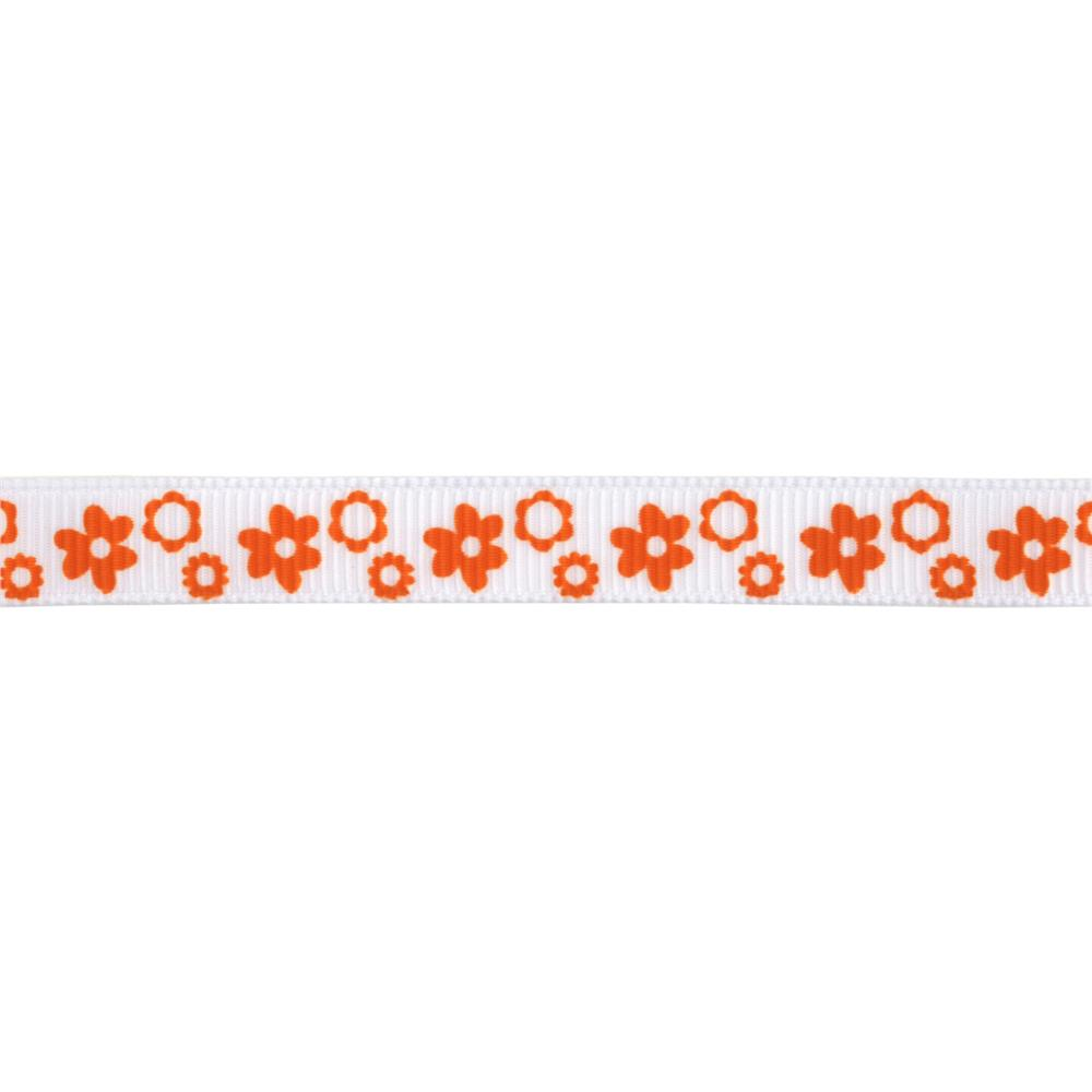 "Riley Blake 3/8"" Grosgrain Ribbon Flowers Orange"