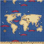 Michael Miller Out To Sea Nautical Map Boy Blue