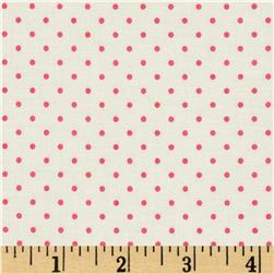 Riley Blake La Creme Basics Swiss Dots Cream/Hot Pink