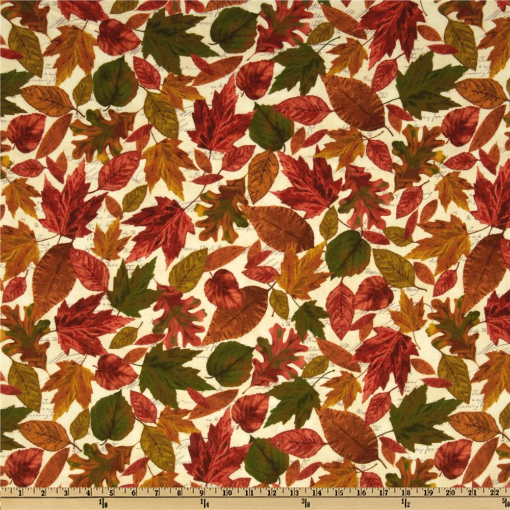 Lakeside Retreat Flannel Fall Leaves Natural