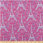 Michael Miller Eiffel Tower Collection Orchid Gray Princess Pink
