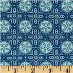 Moda Seascapes Sand Dollar Tiles Navy/Caribbean Blue