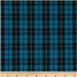 Stretch Yarn Dyed Shirting Plaid Turquoise/Black