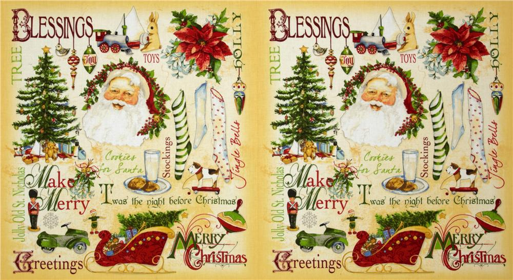 Vintage Christmas Greetings Panel Cream