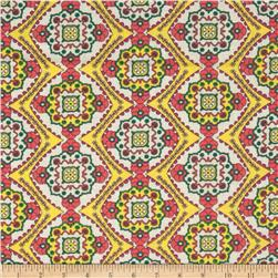 Designer Cotton Lawn Mosaic Pink/Yellow