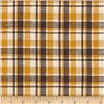 Designer Yarn Dyed Flannel Plaid Mustard/Brown