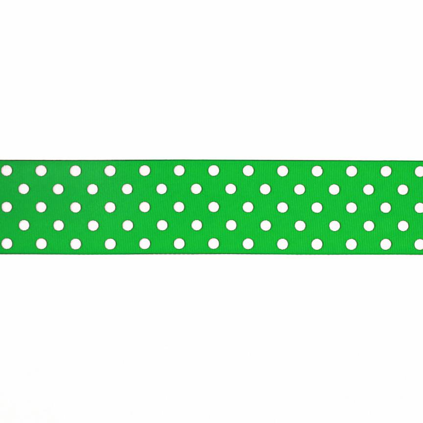 "1.5"" Grosgrain Polka Dots Green/White"