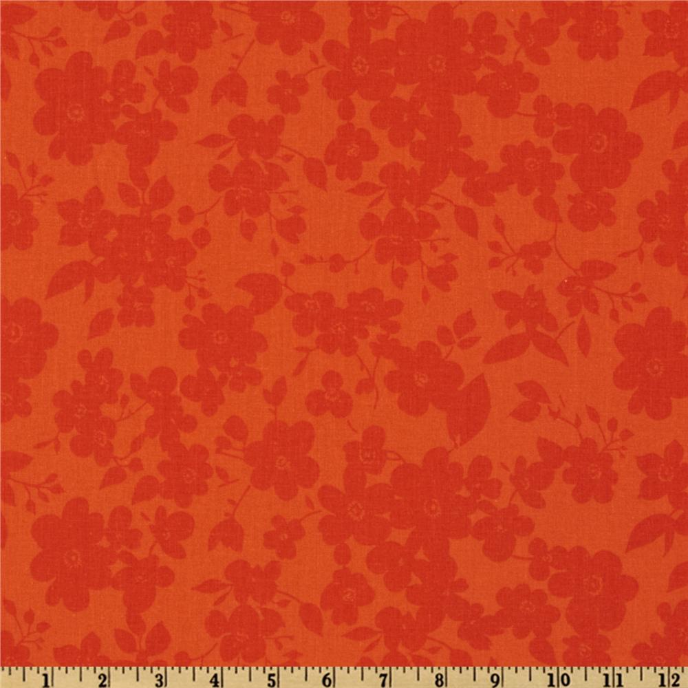 108'' Quilt Backing Spin Floral Orange