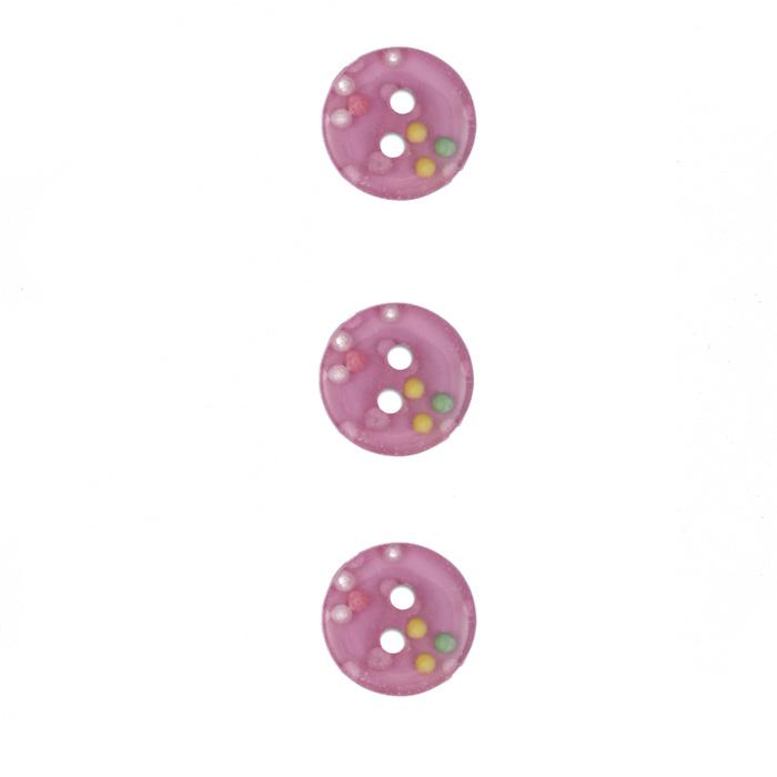 Fashion Button 1/2'' Confetti Sparkles Pink