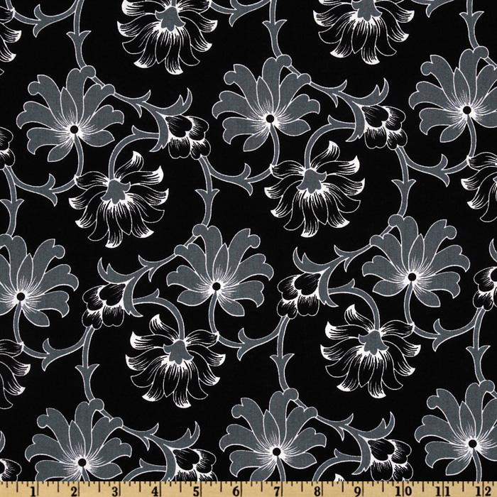 Floral Allover Floral Vines Black/Grey