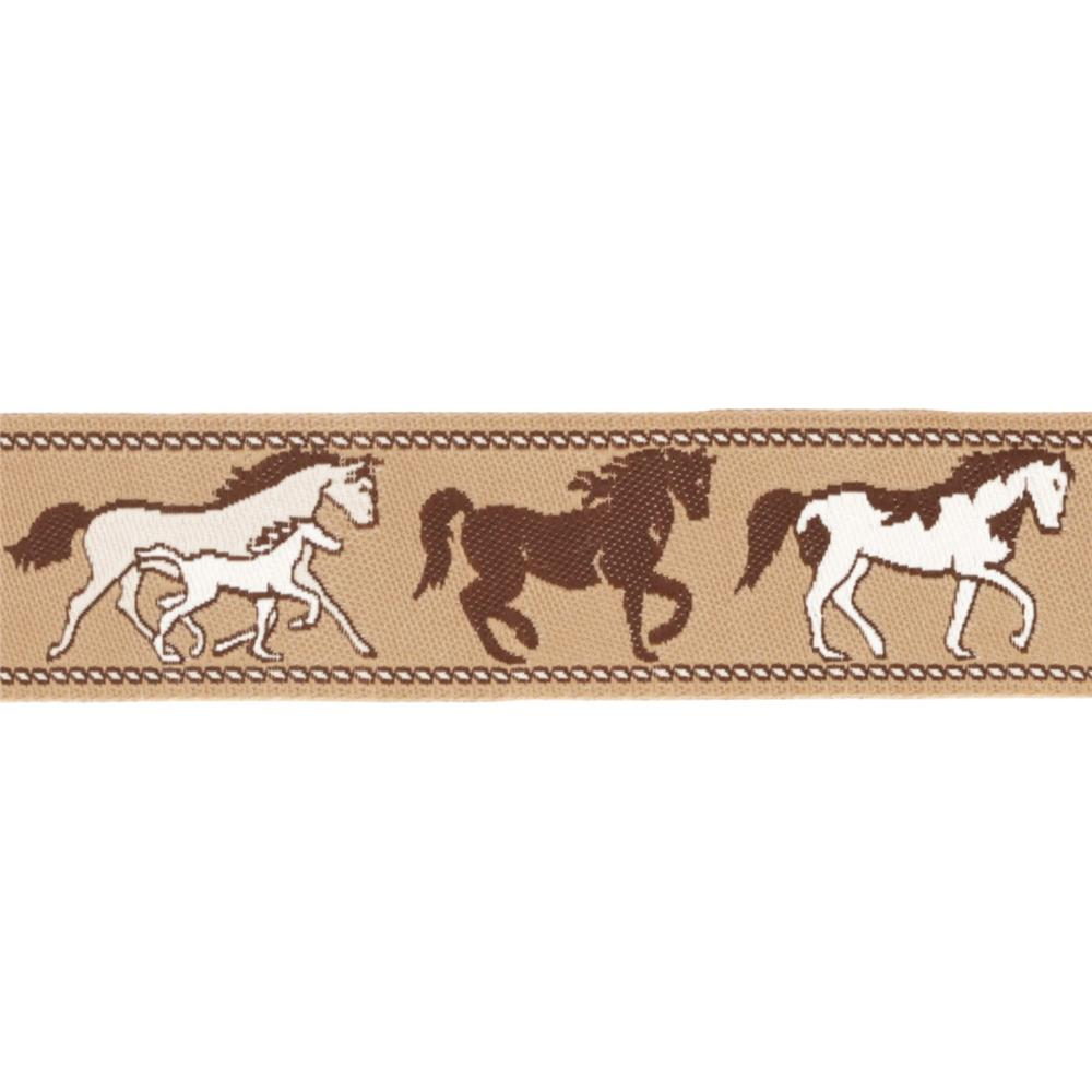 7/8&#39;&#39; Ribbon Horses Brown/Tan
