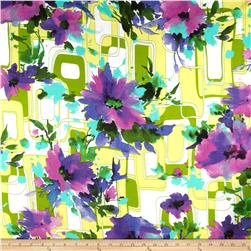 Rayon Challis Floral Purple/White
