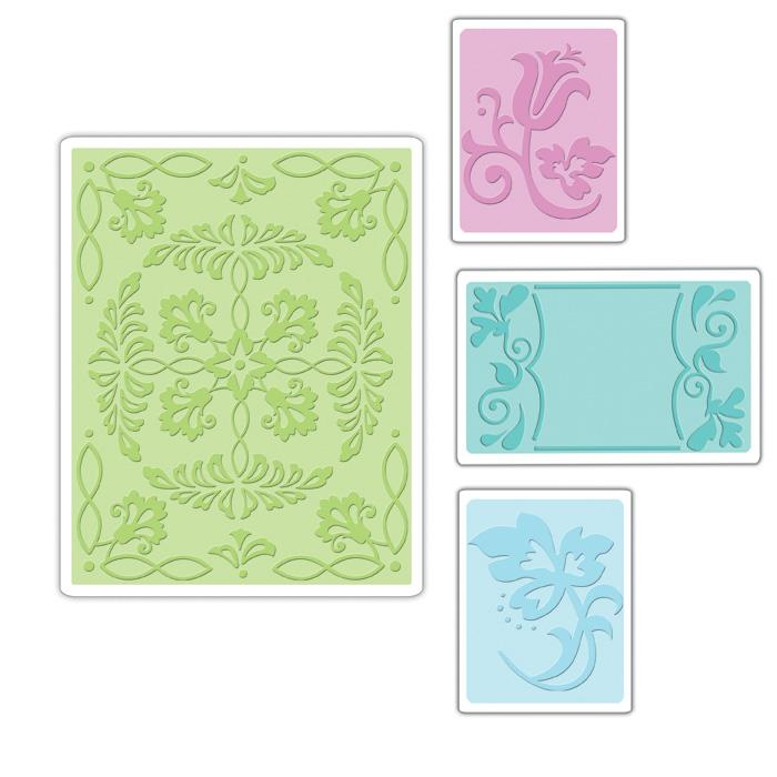 Sizzix Textured Impressions Embossing Folders 4 Pack-Ornate Flowers &amp; Frame